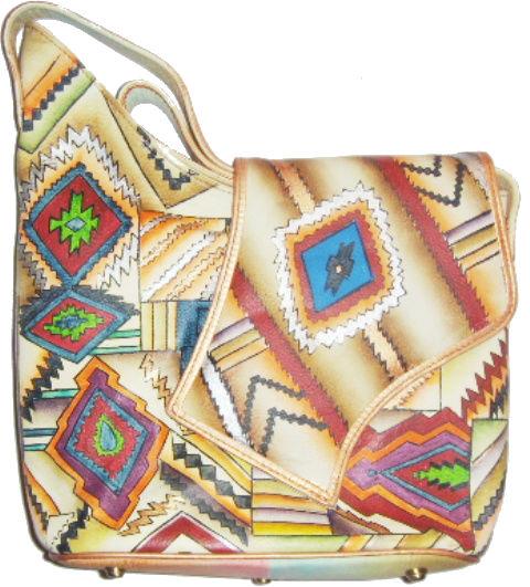 Эксклюзивные кожаные сумки ручной работы с тиснением и ручной росписью...